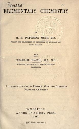 Elementary chemistry by M. M. Pattison Muir