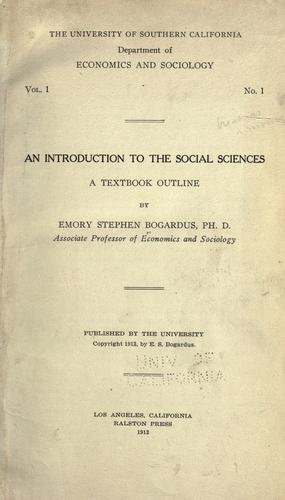 Introduction to the social sciences by Emory Stephen Bogardus