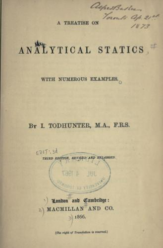 A treatise on analytical statics, with numerous examples by J. Hamblin Smith