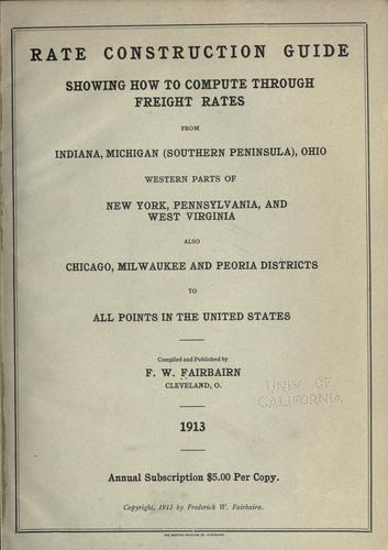 Rate construction guide by Frederick William Fairbairn