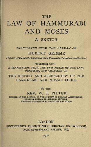 The law of Hammurabi and Moses by Hubert Grimme