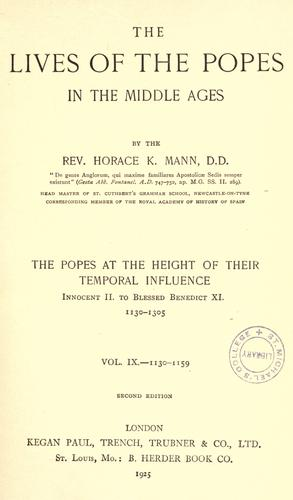 The lives of the popes in the early middle ages by Horace K. Mann