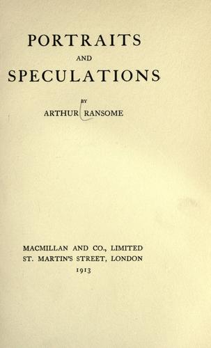 Portraits and speculations by John Arthur Ransome Marriott