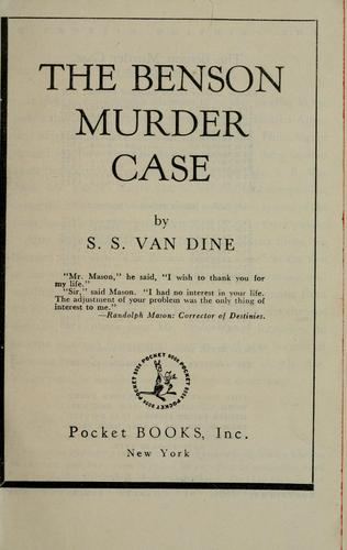 The Benson murder case by S. S. Van Dine