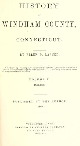 History of Windham County, Connecticut by Ellen D. Larned